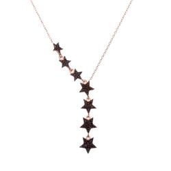Anı Yüzük - 925 Ayar Gümüş Siyah Taşlı Kuyruklu Yıldız Bayan Kolye