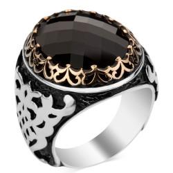 Anı Yüzük - 925 Ayar Gümüş Siyah Zirkon Taşlı Erkek Yüzüğü