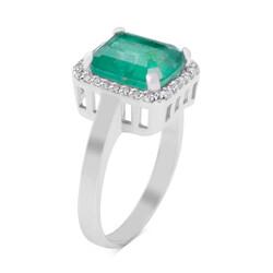 Anı Yüzük - 925 Ayar Gümüş Tam Tur Zirkon Taş İşlemeli Yeşil Paraiba Taşlı Bayan Yüzüğü