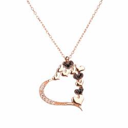 Anı Yüzük - 925 Ayar Gümüş Taşlı Kalpler Bayan Kolye