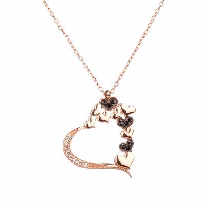 925 Ayar Gümüş Taşlı Kalpler Bayan Kolye