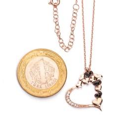925 Ayar Gümüş Taşlı Kalpler Bayan Kolye - Thumbnail