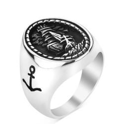 Anı Yüzük - 925 Ayar Gümüş Yelkenli Motifli Denizci Yüzüğü