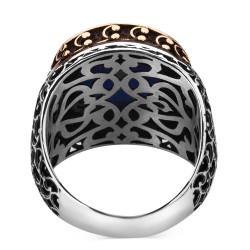 925 Ayar Gümüş Zirkon Mavi Taşlı İşlemeli Erkek Yüzük - Thumbnail