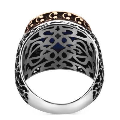 925 Ayar Gümüş Zirkon Mavi Taşlı İşlemeli Erkek Yüzük