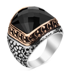 925 Ayar Gümüş Zirkon Siyah Taşlı İşlemeli Erkek Yüzük