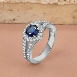 Anı Yüzük - 925 Ayar Gümüş Zirkon Taş İşlemeli Bayan Yüzüğü Gece Mavisi Mini Taşlı