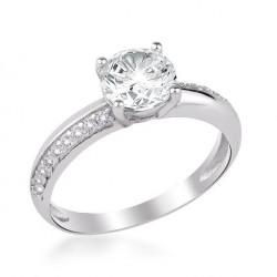 925 Ayar Gümüş Zirkon Taş İşlemeli Tek Taş Model Kadın Yüzüğü - Thumbnail