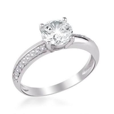 925 Ayar Gümüş Zirkon Taş İşlemeli Tek Taş Model Kadın Yüzüğü