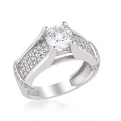 925 Ayar Gümüş Zirkon Taş Süslemeli Tek Taş Model Kadın Yüzüğü - Thumbnail