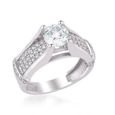 925 Ayar Gümüş Zirkon Taş Süslemeli Tek Taş Model Kadın Yüzüğü