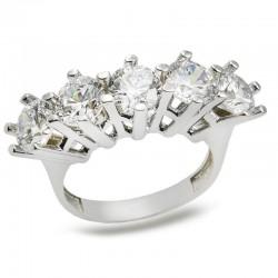 Anı Yüzük - 925 Ayar Gümüş Zirkon Taşlı Beş Taş Model Kadın Yüzüğü