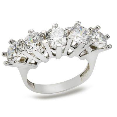 925 Ayar Gümüş Zirkon Taşlı Beş Taş Model Kadın Yüzüğü