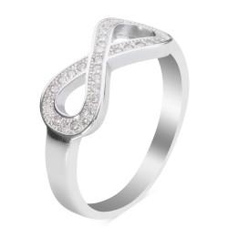 925 Ayar Gümüş Zirkon Taşlı Sonsuzluk Model Kadın Yüzüğü - Thumbnail