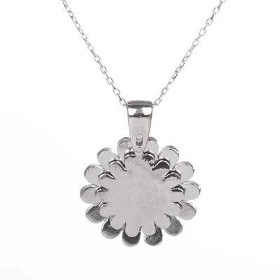 Açılabilir Kişiye Özel Papatya Kolye Gümüş Renk