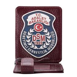 Anı Yüzük - Denetimli Serbestlik Müdürlüğü (DSM) Rozetli Para Tokalı Kartlık Cüzdan Bordo