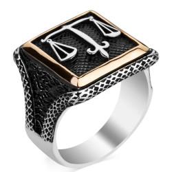 Anı Yüzük - Adalet Terazili Kare Tasarım Erkek Gümüş Yüzüğü