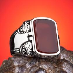 Akik Taşlı 925 Ayar Gümüş Yüzük - Thumbnail