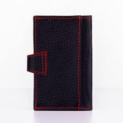 Akordiyon Model Hakiki Deri Kartlık Siyah-Kırmızı Detaylı - Thumbnail