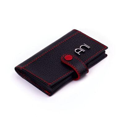 Akordiyon Model Hakiki Deri Kartlık Siyah-Kırmızı Detaylı