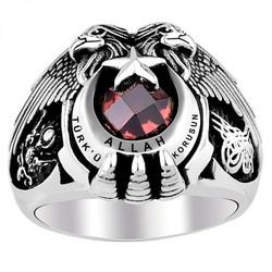 Anı Yüzük - Allah Türkü Korusun Çift Kartal Başlı Osmanlı Gümüş Yüzük