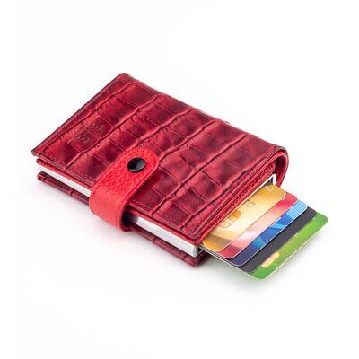 Anıtolia Pop-Up Otomatik Mekanizmalı Kroko Deri Kartlık Cüzdan Bordo-Kırmızı