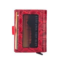 Anıtolia Pop-Up Otomatik Mekanizmalı Kroko Deri Kartlık Cüzdan Bordo-Kırmızı - Thumbnail