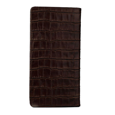 Anıtolia Style Kroko Deri Cep Telefonu Bölmeli Deri El Cüzdanı Kahverengi