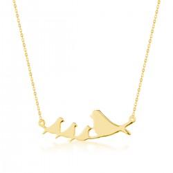 Anı Yüzük - Anne ve Yavru Kuşlar Motifli Kolye (Altın Renkli)