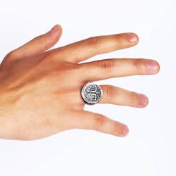 Antik Mısır Özgürlük Savaşçısı Taşsız Gümüş Erkek Yüzük - Thumbnail