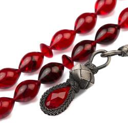 Arpa Kesim Kazaz Püsküllü Kırmızı Sıkma Kehribar Tesbih - Thumbnail