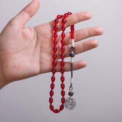 Arpa Kesim Kırmızı Sıkma Kehribar Tesbih - Thumbnail