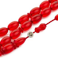 Arpa Kesim Sistemli Kırmızı Sıkma Kehribar Tesbih - Thumbnail