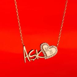Aşk Yazılı Kalpli Kişiye Özel Kolye - Thumbnail