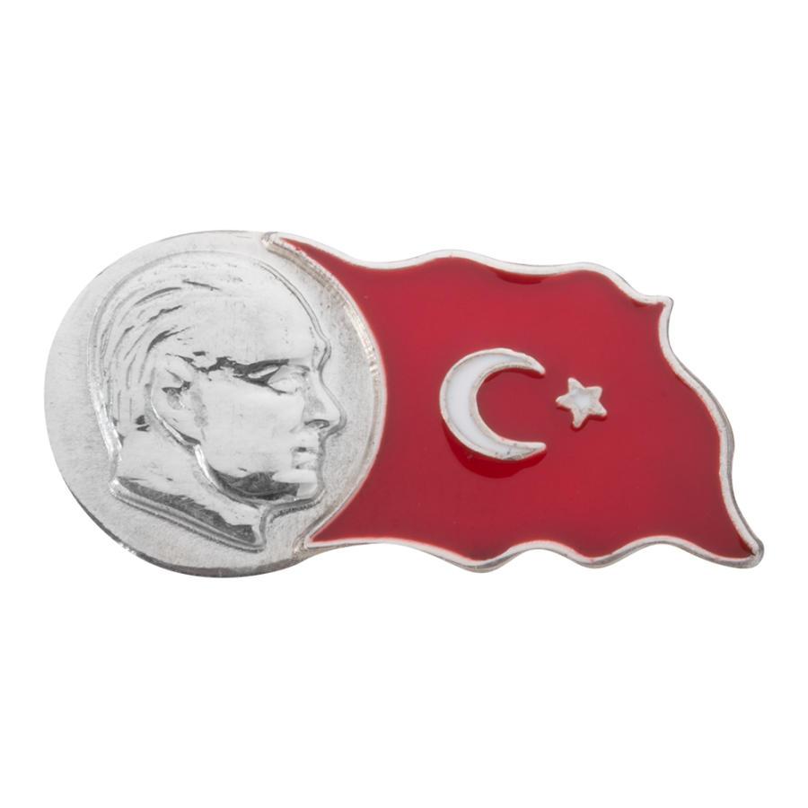 Ataturk Ve Turkiye Haritali Yaka Rozeti