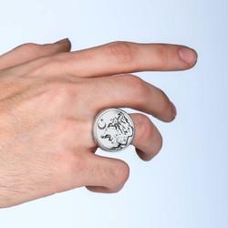 Ay Yıldız Bozkurt Gümüş Erkek Yüzük - Thumbnail