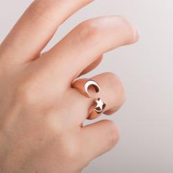 Ay-Yıldız Desenli İsimsizler Dizisi Yüzüğü (Küçük Boy) - Thumbnail