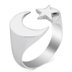 Ay Yıldız Desenli İsimsizler Yüzüğü - Thumbnail