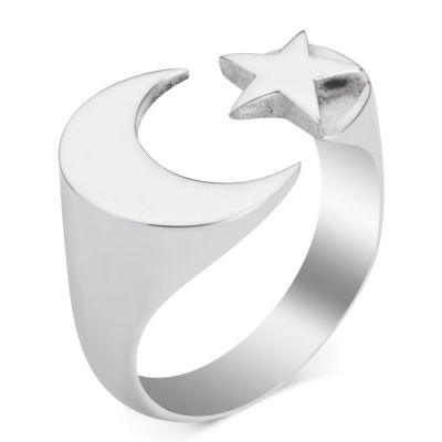 Ay Yıldız Desenli İsimsizler Yüzüğü