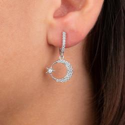 Ay Yıldız Figürlü Gümüş Küpe - Thumbnail