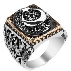 Anı Yüzük - Ay Yıldız Figürlü Taşsız Gümüş Erkek Yüzüğü