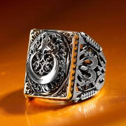 Ay Yıldız Figürlü Taşsız Gümüş Erkek Yüzüğü - Thumbnail