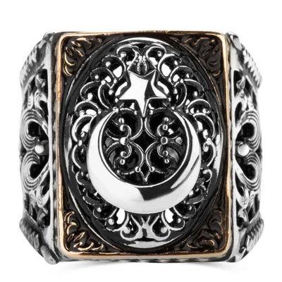 Ay Yıldız Figürlü Taşsız Gümüş Erkek Yüzüğü