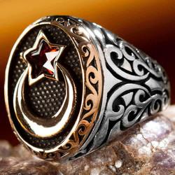 Anı Yüzük - Ay Yıldız Kırmızı Taşlı Gümüş Erkek Yüzüğü