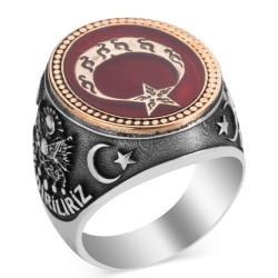 Anı Yüzük - Ay Yıldız Motifli Bir Ölür Bin Diriliriz Yüzüğü