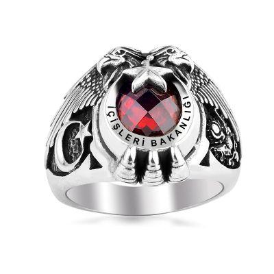Ay Yıldız Motifli İçişleri Bakanlığı Gümüş Yüzüğü