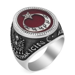 Ay Yıldız Motifli Kahramanlar Yüzüğü - Thumbnail