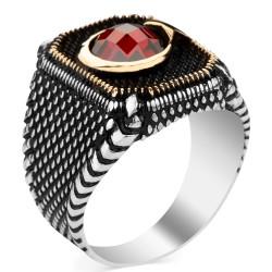 Ay Yıldız Zirkon Taşlı Gümüş Erkek Yüzüğü - Thumbnail