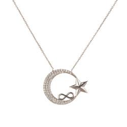 Ay Yıldızlı Model Sonsuzluk Desenli Bayan Gümüş Kolye - Thumbnail