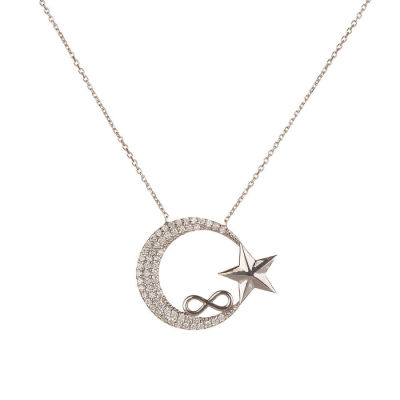 Ay Yıldızlı Model Sonsuzluk Desenli Bayan Gümüş Kolye